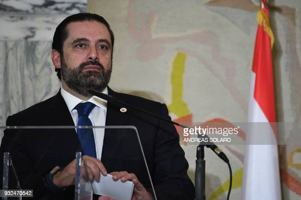 Lebanese Prime Minister and Leader of the Future Movement Party Saad Hariri looks on during a joint press conference during the Ministerial meeting...