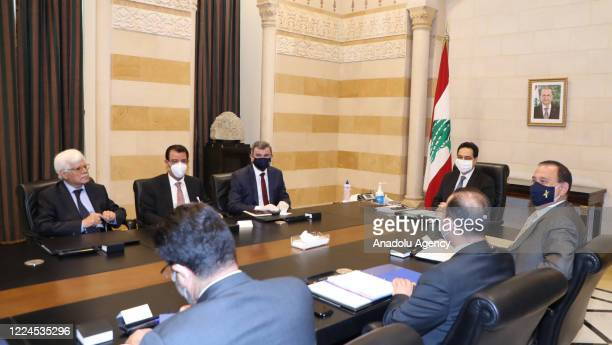 Lebanese Prime Minister Hassan Diab and Iraq's Oil Minister Ihsan Abdel-Jabbara hold a meeting in Beirut, Lebanon on July 03, 2020.