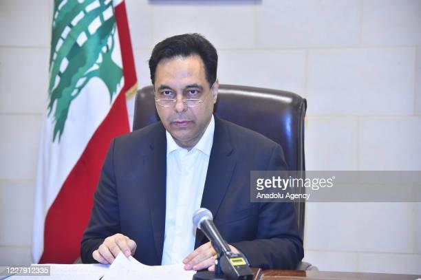 Lebanese Prime Minister Hassan Diab makes a speech on massive blast in Beirut, Lebanon on August 04, 2020.