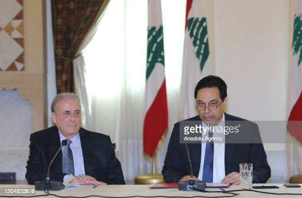 Lebanese Prime Minister Hassan Diyab speaks during a meeting in Beirut Lebanon on March 2 2020 LEBANESE PRIME MINISTRY OFFICE / HANDOUT / Anadolu...