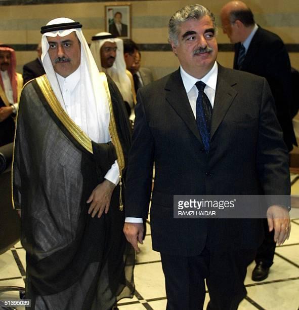 Lebanese Prime Minister Rafik Hariri receives the chairman of Saudi Development Bank Ibrahim alAssaf in Beirut 08 March 2001 Hariri said Lebanon was...