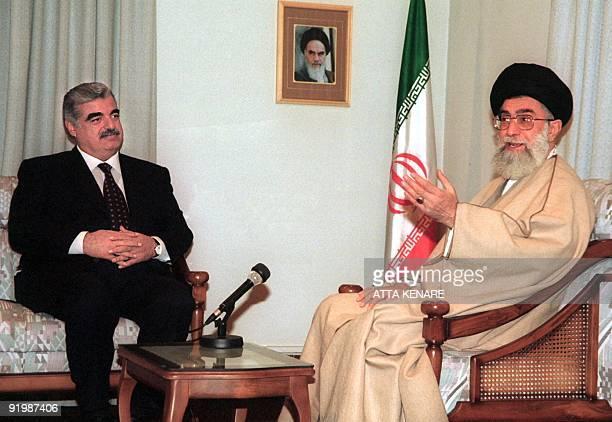 Lebanese Prime Minister Rafiq Hariri meets with Iran's Supreme Leader Ayatollah Ali Khamenei 13 January 2001 in Tehran Hariri arrived for a twoday...