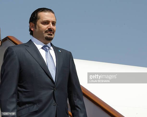 Lebanese Prime Minister Saad alHariri arrives at Damascus airport on July 18 during an official visit to discuss the economy AFP PHOTO LOUAI BESHARA
