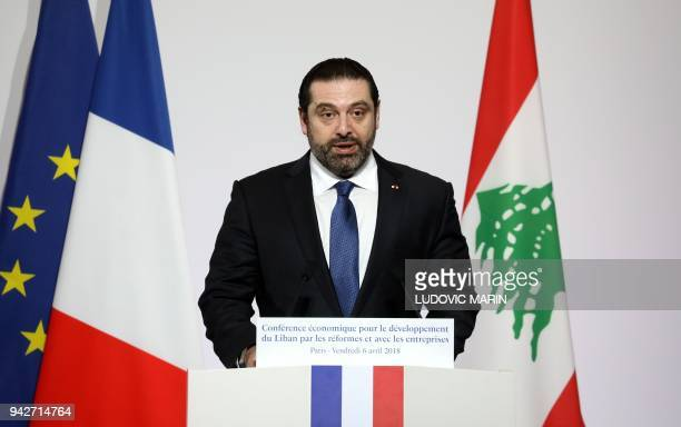 Lebanese Prime Minister Saad Hariri addresses the Cedre conference at The Foreign Affairs Ministry in Paris on April 6 2018 International donors have...
