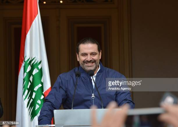 Lebanese Prime Minister Saad Hariri delivers a speech during a press conference on his resignation at his residence in Beirut Lebanon on November 22...