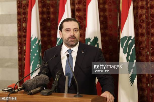 Lebanese Prime Minister Saad Hariri gives a press conference after meeting with Emmanuel Macron an independent candidate in France's presidential...