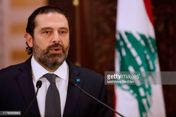 Lebanese Prime Minister Saad Hariri gives an address at the government headquarters in the centre of the capital Beirut on October 18, 2019. - Hariri...
