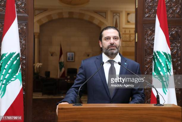 Lebanese Prime Minister Saad Hariri holds a press conference over the ongoing protests against the government in Beirut, Lebanon on October 18, 2019.
