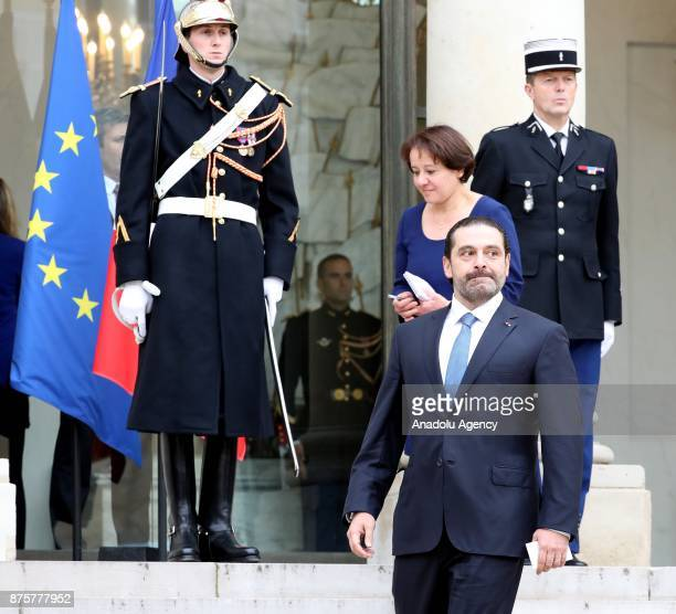 Lebanese Prime Minister Saad Hariri leaves after a meeting French President Emmanuel Macron at the Elysee Palace in Paris France on November 18 2017
