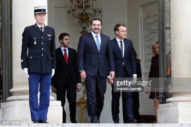 Lebanese Prime Minister Saad Hariri leaves as French President Emmanuel Macron accompanies at the Elysee Palace in Paris France on November 18 2017