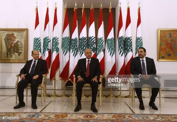 Lebanese prime minister Saad Hariri meets President Michel Aoun and Parliament speaker Nabih Berri at the presidential palace in Baadba on November...