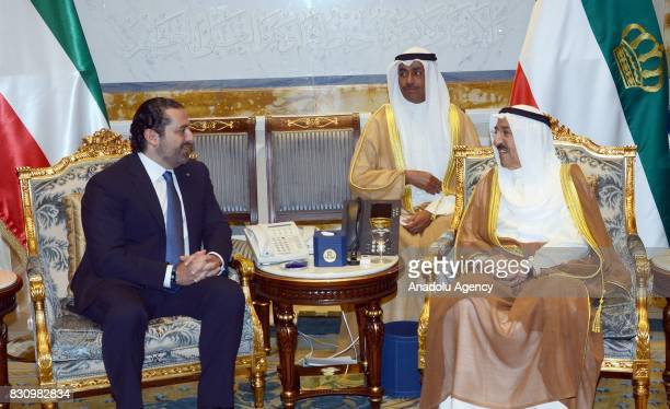 Lebanese Prime Minister Saad Hariri meets with Emir of Kuwait Sheikh Sabah IV Ahmad AlJaber AlSabah during Hariri's official visit at Bayan Palace in...