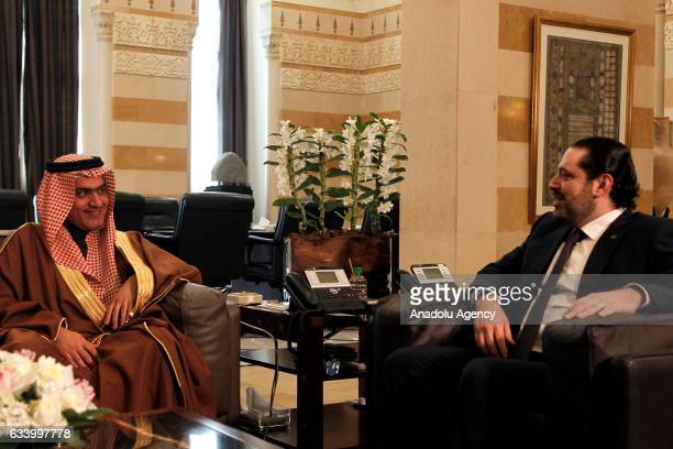 Lebanese Prime Minister Saad Hariri meets with Saudi Arabia's Arab Gulf Affairs Minister Thamer alSabhan during their meeting at governmental palace...