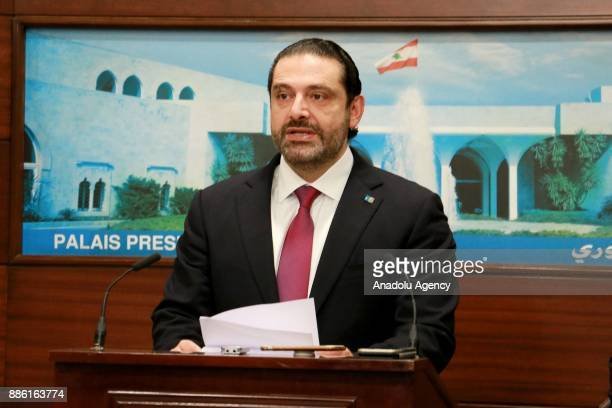 Lebanese Prime Minister Saad Hariri speaks during a press conference after attending a cabinet meeting with President Michel Aoun at the Presidential...