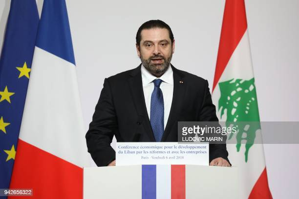 Lebanese Prime Minister Saad Hariri speaks during the International CEDRE Conference on April 6 2018 in Paris International donors are set to give...