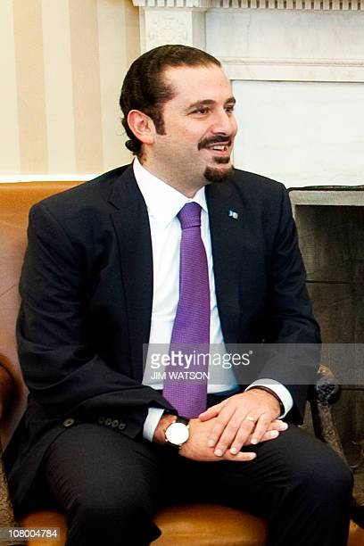 Lebanese Prime Minister Saad Hariri speaks with US President Barack Obama at the White House in Washington DC January 12 2011 Hariri was meeting with...