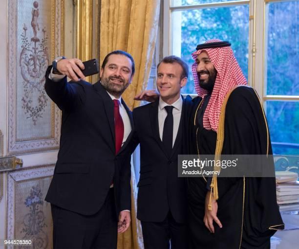 Lebanese Prime Minister Saad Hariri takes a selfie with Crown Prince of Saudi Arabia Mohammed bin Salman Al Saud and French President Emmanuel Macron...