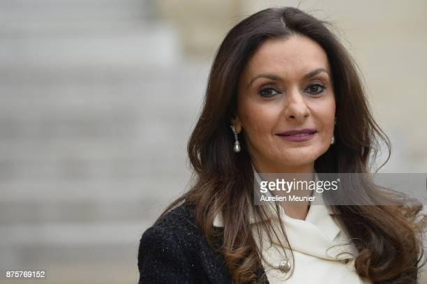 Lebanese Prime Minister Saad Hariri's wife Lara Bashir reacts as she leaves the Elysee Palace on November 18 2017 in Paris France Saad Hariri...