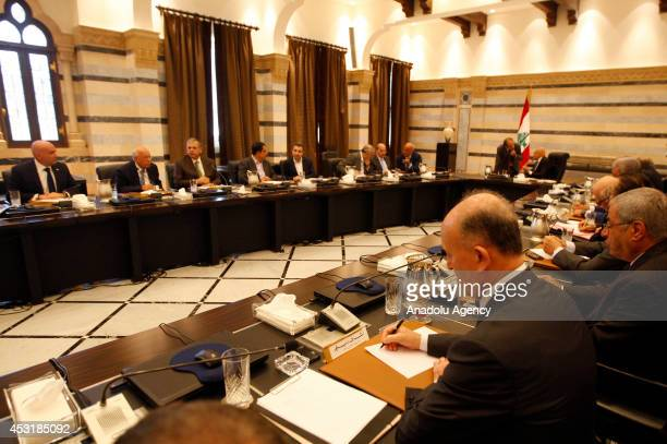 Lebanese Prime Minister Tammam Salam and Lebanon's Council of Ministers discuss the 'recent clashes in the border town of Arsal', during an emergency...