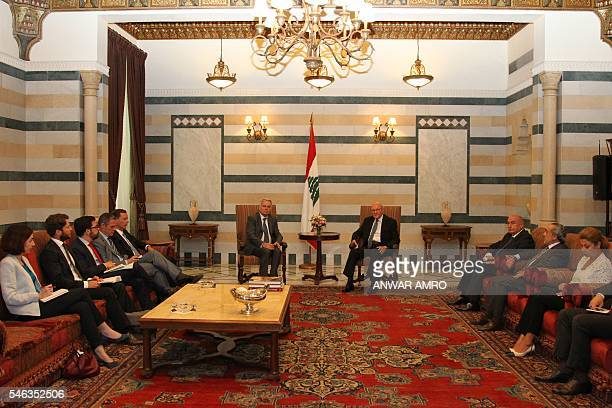 Lebanese Prime Minister Tammam Salam meets with French Foreign Minister JeanMarc Ayrault at the Lebanese government palace in downtown Beirut on July...