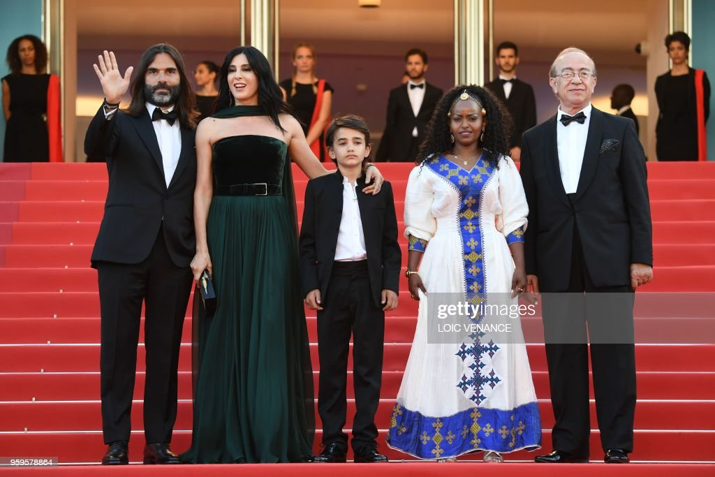 TOPSHOT - (FromL)Lebanese producer Khaled Mouzanar, Lebanese director and actress Nadine Labaki, Lebanese actor Zain al-Rafeea, Ethiopian actress Yordanos Shifera and Libanese actor Elias Khoury arrive on May 17, 2018 for the screening of the film 'Capharnaum' at the 71st edition of the Cannes Film Festival in Cannes, southern France.