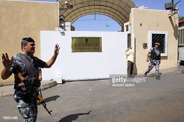 Lebanese Security Forces Guard The Entrance Of Saudi Embassy In Beirut During A Protest