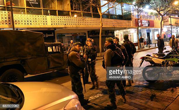 a697d17eab0 Lebanese security forces secure the street near the cafe in Hamra street in  Beirut where a