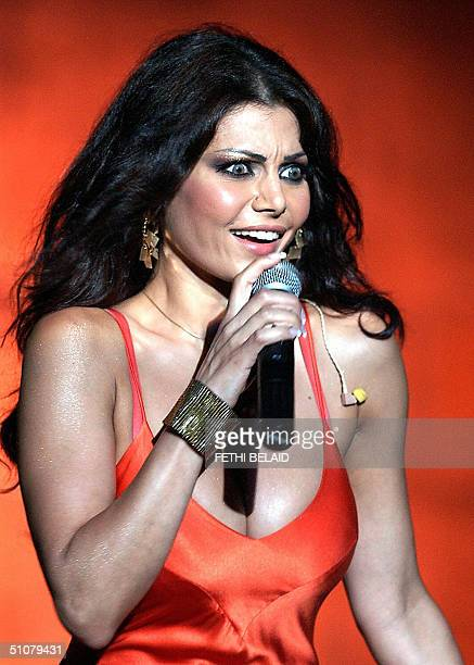 Lebanese singer Haifa Wahbi performs at a benefit concert for the Besma Foundation a charity for the handicapped late 17 July 2004 in Tunis AFP...