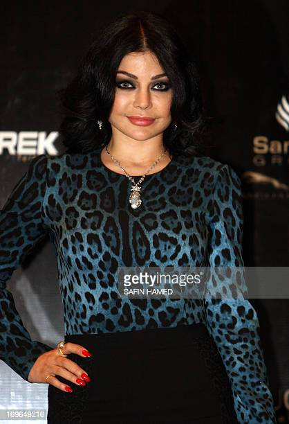 Lebanese singer Haifa Wehbe poses following a press conference before a performance in the northern Iraqi Kurdish city of Arbil on May 29 2013 AFP...