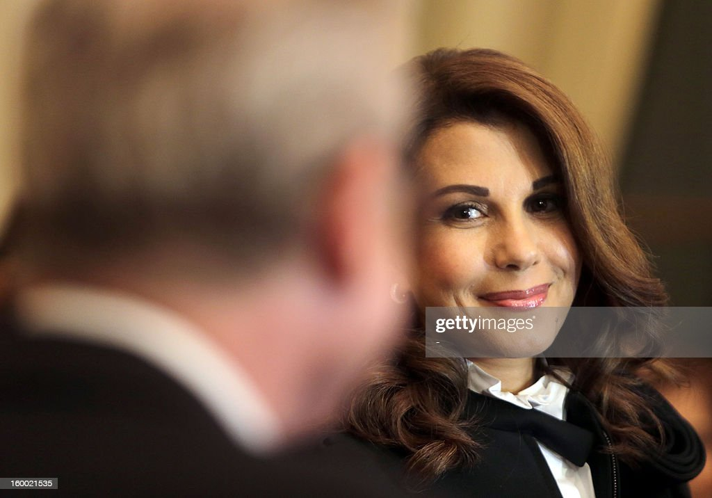 Lebanese singer, Magida al-Roumi looks on prior to be awarded with the Officer of the Order of Arts and Letters medal by French ambassador to Lebanon on January 24, 2012 in Beyrouth. STR