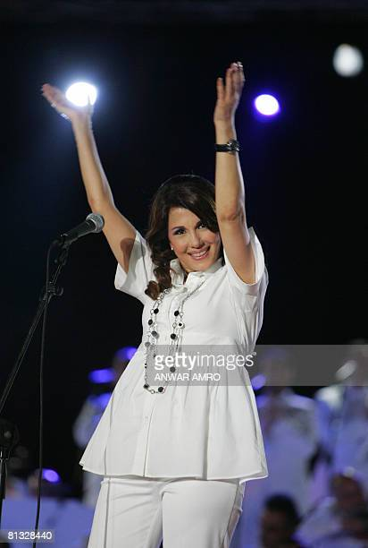 Lebanese singer Magida alRoumi performs in the heart of the Lebanese capital Beirut late June 1 2008 Roumi's performance was the last of a series of...