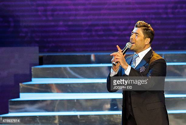 Lebanese singer Wael Kfoury performs during the 15th annual Murex d'Or awards ceremony held at the Casino Du Liban in Maameltein north of Beirut on...