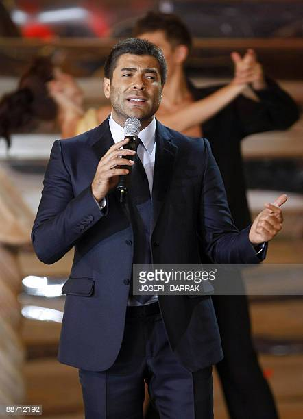 Lebanese singer Wael Kfoury performs during the Miss Lebanon 2009 beauty pageant in Adma north of Beirut late on June 26 2009 Martine Indraous won...