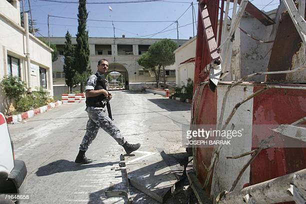 Lebanese soldier walks in the previously Israelioccupied Lebanese army barracks in the southern town of Marjayoun 15 August 2006 The Lebanese army...