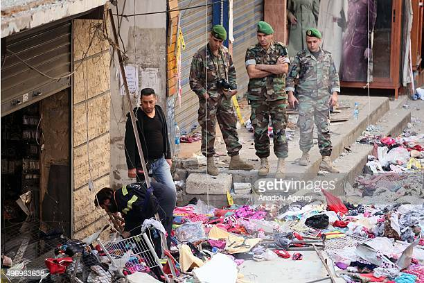 Lebanese soldiers inspect an area where two explosions took place at Dahieh, know as Hezbollah stronghold, South Beirut, Lebanon on November 13,...