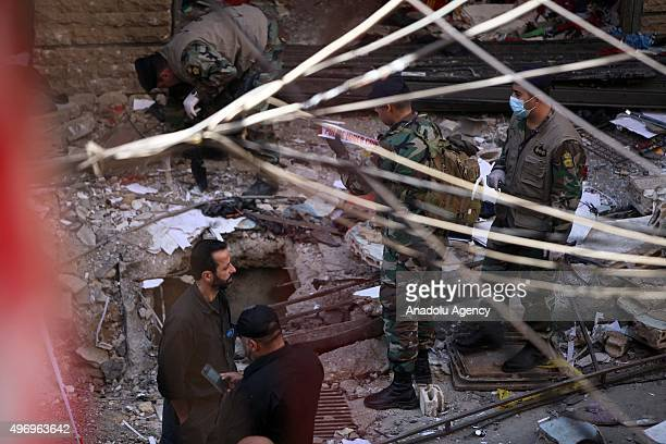 Lebanese soldiers inspects an area where two explosions took place at Dahieh, know as Hezbollah stronghold, South Beirut, Lebanon on November 13,...