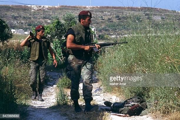 Lebanese soldiers patrol around the Niyeh-Niyeh Palestinian Camp, in the southest of Saida, in south Lebanon.