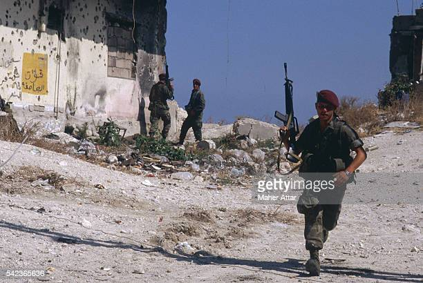 Lebanese soldiers patrol around the NiyehNiyeh Palestinian Camp in the southest of Saida in south Lebanon