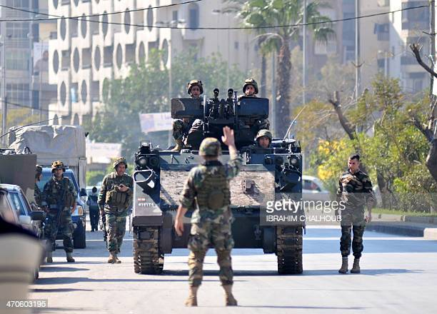 Lebanese soldiers secure the northern port city of Tripoli on February 20 2014 A senior official in a Lebanese Alawite party supportive of the Syrian...