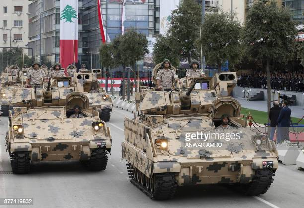 Lebanese soldiers take part in a military parade for Independence Day celebrations marking 74 years since the end of France's mandate in Lebanon on...