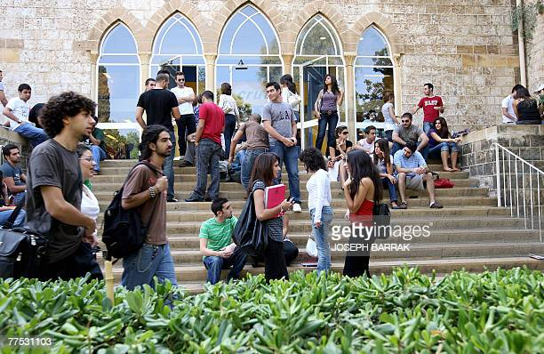 Lebanese students of the American University in Beirut gather at their university campus 25 October 2007 Many students wish Lebanon's politicians...