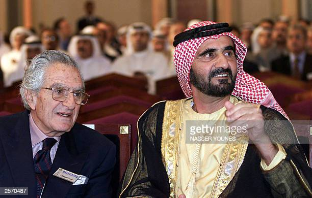 Lebanese veteran journalist of AnNahar daily newspaper Ghassan Toueini and Crown Prince of Dubai Sheikh Mohammad bin Rashed alMaktum attend the...
