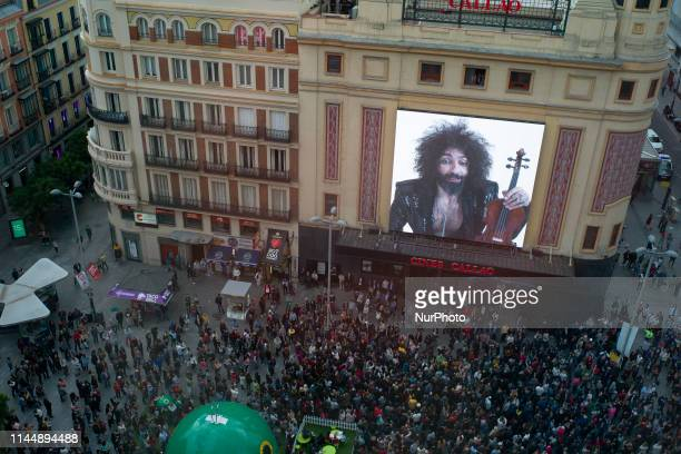 Lebanese violinist Ara Malikian during the digital concert in the Plaza de Callao in Madrid presents his latest album 'Royal Garage' May 18 2019...