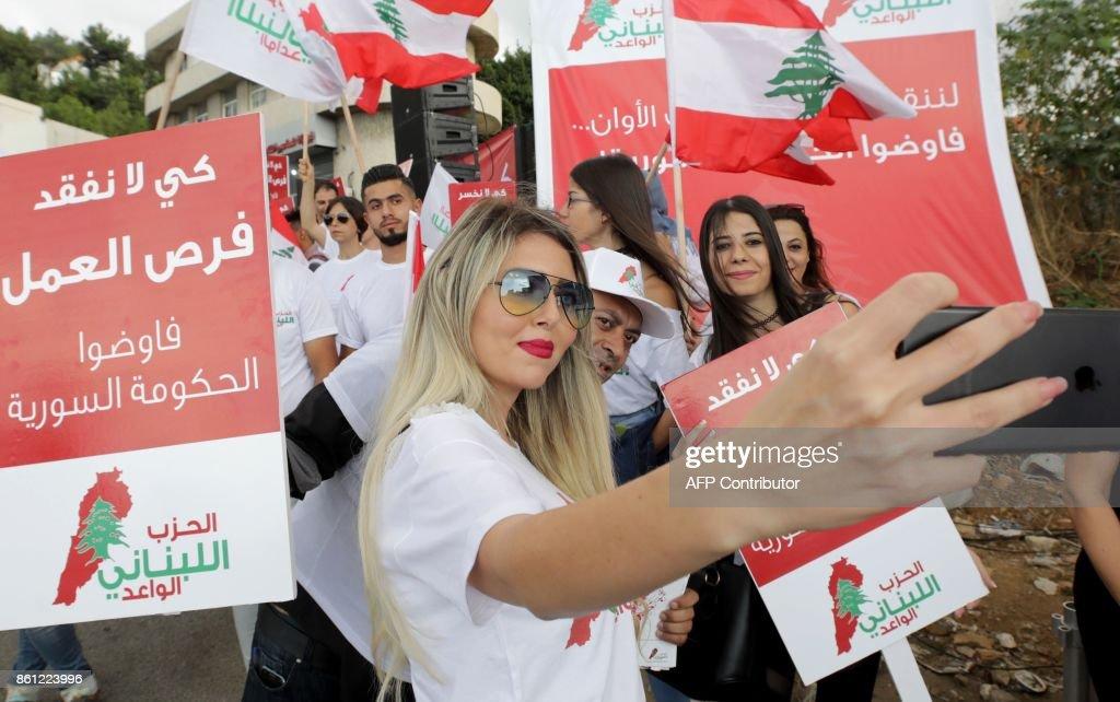 LEBANON-SYRIA-CONFLICT-DEMO : News Photo