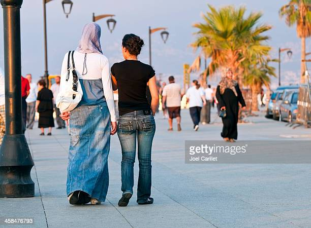 lebanese women on beirut corniche - beirut stock pictures, royalty-free photos & images