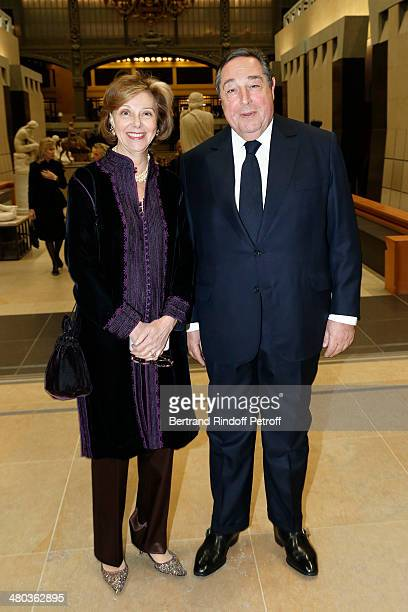 Lebaneseborn composer and poet Bechara ElKhoury and guest attend the dinner party of the Societe Des Amis Du Musee D'Orsay at Musee d'Orsay on March...