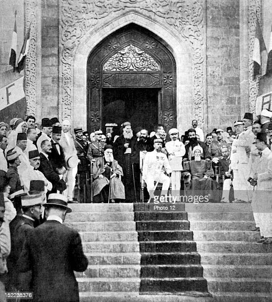 Lebanon 911920 Solemn proclamation of Greater Lebanon in Beirut General Gouraud surrounded by the Maronite patriarch Msgr Hoyek and the Mufti...