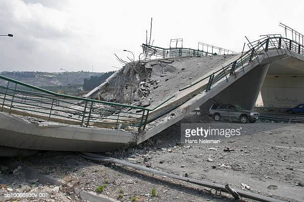 lebanon, beirut, bridge destroyed by war - collapsing stock pictures, royalty-free photos & images