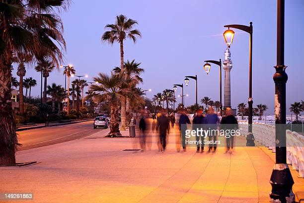 lebanon, beirut, corniche waterfront at sunrise - beirut stock-fotos und bilder