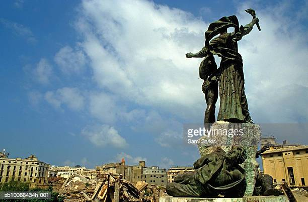 Lebanon, Beirut, Martyr's statues in demolished Martyr's Square